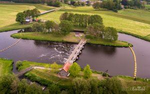 Luchtfoto Vechterweerd sluis vistrap Zwolle Dalfsen IJsseldrone