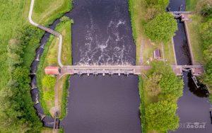 Luchtfoto Vechterweerd sluis Zwolle Dalfsen Top Down IJsseldrone